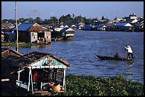 Floating houses on the Hau Gian river. Chau Doc, Vietnam ( color)