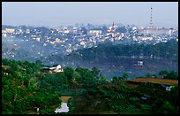 View of the town and hills. Da Lat, Vietnam (color)