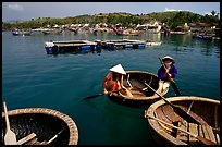 Circular basket boats, typical of the central coast, Nha Trang. Vietnam