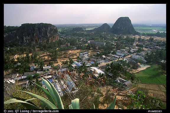 Marble mountains seen from Thuy Son. Da Nang, Vietnam (color)