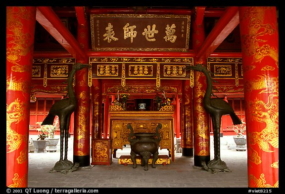 Red columns and altar with phoenix, Temple of the Literature. Hanoi, Vietnam