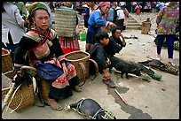 Pigs ready to be carried away for sale, sunday market. Bac Ha, Vietnam (color)
