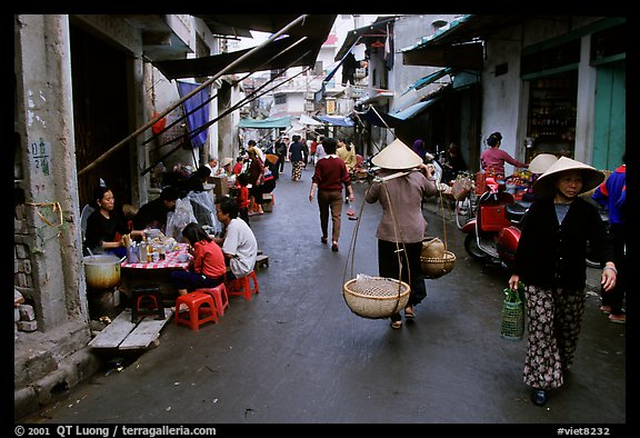 Street scene in the old city. Hanoi, Vietnam (color)