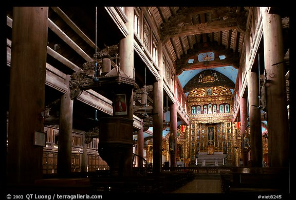 Interior of  Phat Diem cathedral, built in chinese architectural style. Ninh Binh,  Vietnam (color)