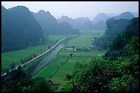 The Karstic landscape of Hoa Lu. Ninh Binh,  Vietnam (color)