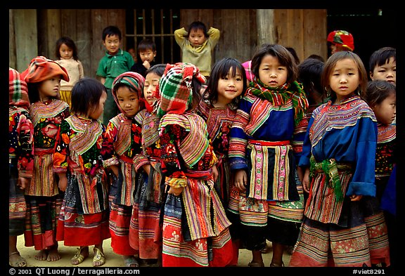 School kids in colorfull everyday dress. Bac Ha, Vietnam (color)