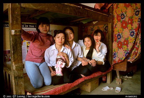 Hanoi-born teachers in the remote mountain outpost of Can Cau. Vietnam (color)