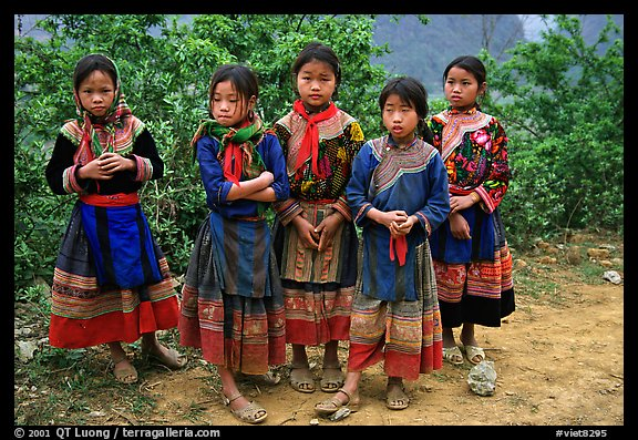 Flower Hmong girls. Bac Ha, Vietnam (color)