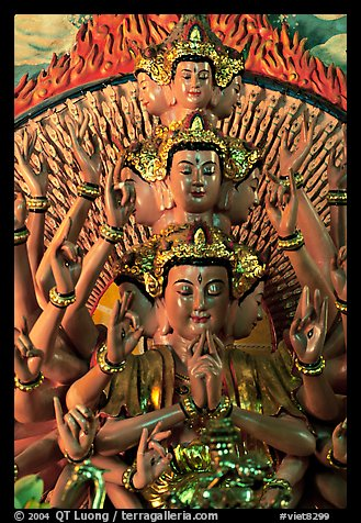 Detail of a buddhist sculpture with many heads. Ha Tien, Vietnam (color)