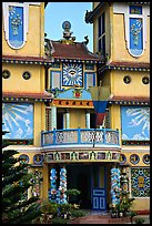 Facade detail of a Cao Dai temple. Ben Tre, Vietnam (color)