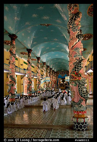Interior of the Great Caodai Temple. Tay Ninh, Vietnam